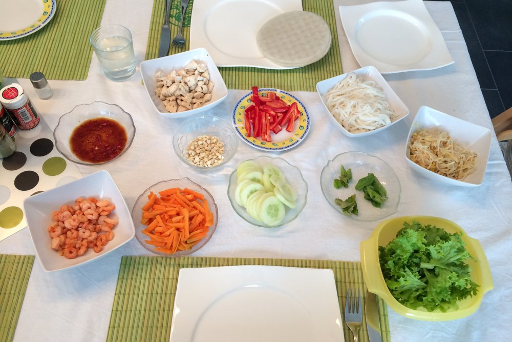 Die Zutaten liegen fertig auf dem Tisch: Los geht's